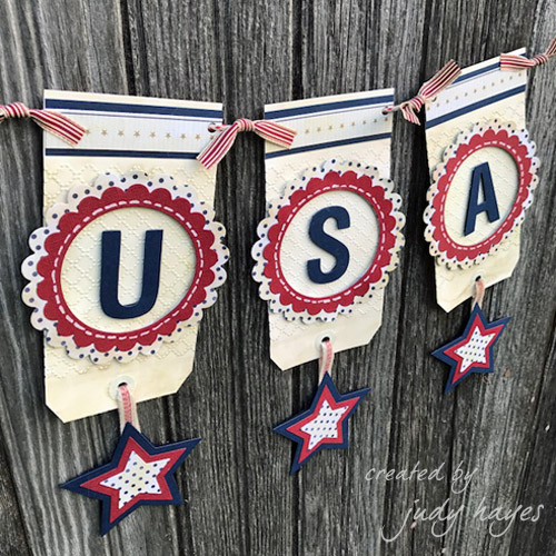 Patriotic USA Tag Banner Tutorial by Judy Hays for Scrapbook Adhesives by 3L