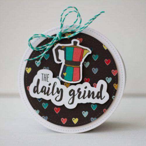 Circle shaped, coffee themed card by Latisha Yoast