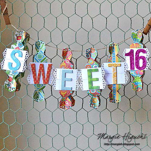 Sweet 16 Treat Box Banner by Margie Higuchi for Scrapbook Adhesives by 3L