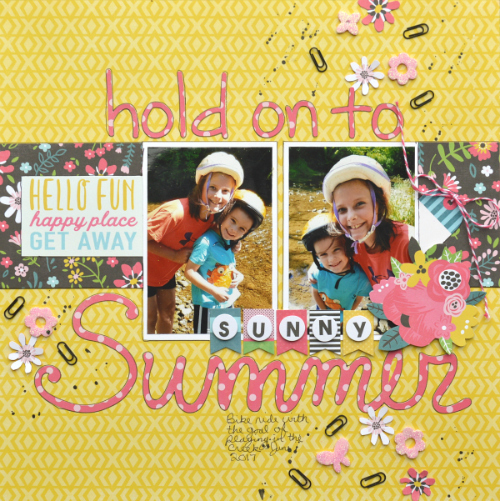 Using 3D Foam Garden shapes from Scrapbook Adhesives by 3L to Embellish a Scrapbook Layout