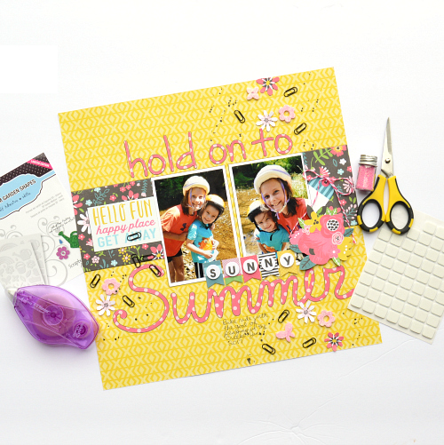 Using 3D Foam Products from Scrapbook Adhesives by 3L as an embellishment on a scrapbook layout