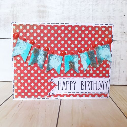 Glittered Banner Birthday Card Using 3D Foam Pennants And Crafty Power Tape