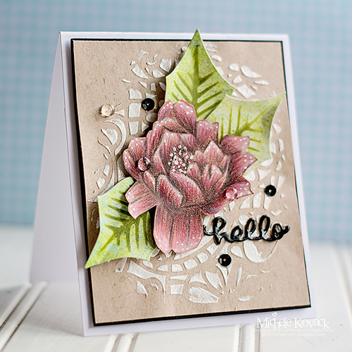 Hello Card with Rose by Michele Kovack for Scrapbook Adhesives by 3L