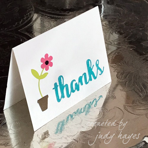 Thanks card with Adhesive Sheets and die cuts by Judy Hayes
