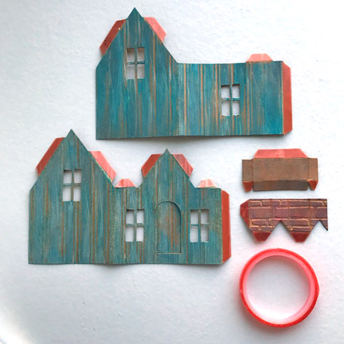 Tiny Paper House Tutorial with Photo Corners Shingles tutorial by Judy Hayes for Scrapbook Adhesives by 3L