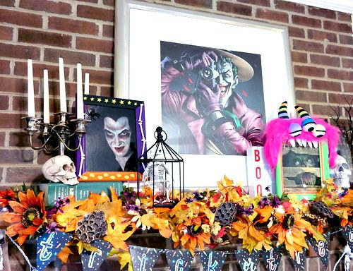 Halloween Mantle with DIY Monster Frames by Dana Tatar for Scrapbook Adhesives by 3L