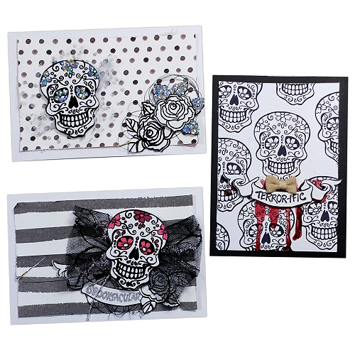 Stampendous Blog Hop and Giveaway - Day 3 Sugar Skulls Halloween Cards by Jana Maiwald-McCarthy