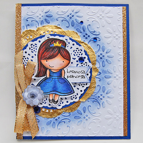 Hermosa Princess Gold Glitter Border Card by Marilyn Rivera