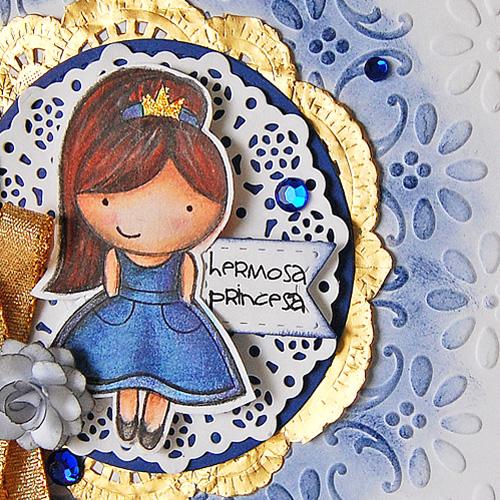Hermosa Princess Gold Glitter Border Card Close Up by Marilyn Rivera