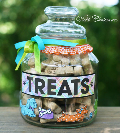 Lawn Fawn Blog Hop and Giveaway - Day 3 Doggie Treat Jar by Vicki Chrisman
