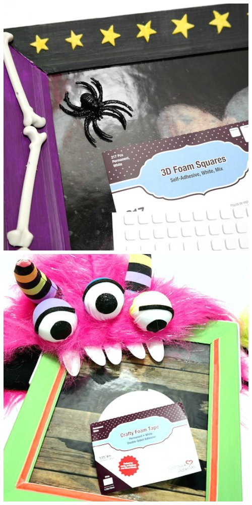 Upcycled Halloween Monster Frames Finishing Embellishments and Scrapbook Adhesvies by 3L Foam by Dana Tatar