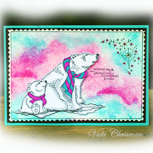 Stampendous Blog Hop and Giveaway - Day 3 Polar Bears Card by Vicki Chrisman