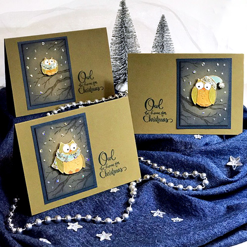 Stampendous Blog Hop and Giveaway - Day 1 Owls Be Home for Christmas Cards by Judy Hayes