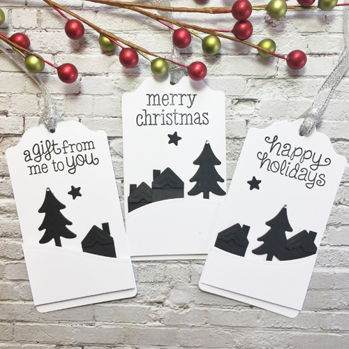 Snowy Scene Tags + Giveaway for Christmas in July with Favecrafts;  tags by Christine Emberson