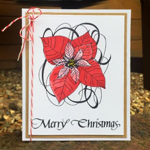Holiday Ensemble on QuietFire Designs Blog Hop and Giveaway - Day 4 Poinsettia Card by Christine Emberson for Scrapbook Adhesives by 3L