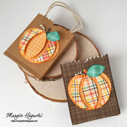 Dimensional Pumpkin Bags Tutorial by Margie Higuchi for Scrapbook Adhesives by 3L