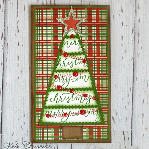 Seasonal Cards on Quietfire Design Blog Hop and Giveaway - Day 5 Christmas Tree Card by Vicki Chrisman for Scrapbook Adhesives by 3L