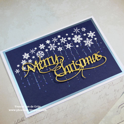 Stenciled Holiday Cards on QuietFire Designs Blog Hop and Giveaway - Day 2 Stenciled Merry Christmas Card by Yvonne van de Grijp for Scrapbook Adhesives by 3L