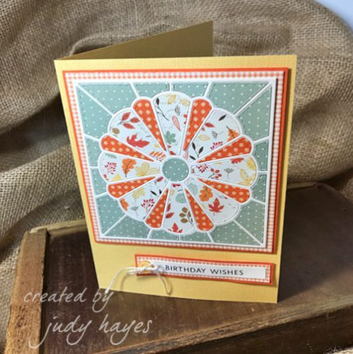 Dresden Quilt Birthday Wishes Card tutorial by Judy Hayes