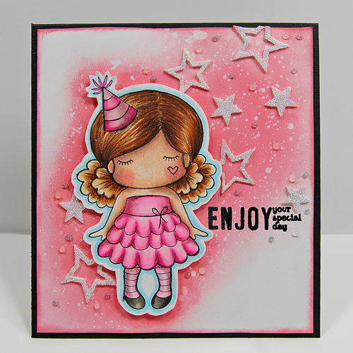 Celebration Card with 3D Foam Stars and Glitter by Marilyn Rivera for Scrapbook Adhesives by 3L