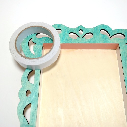 How to line a wood shadow box frame with paper and Premium Double-Sided Tape by Dana Tatar