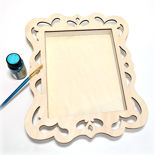 How to stain a wood shadow box frame with watercolor by Dana Tatar