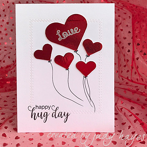 Love Balloons Card in Foiled 3D Hearts by Judy Hayes for Scrapbook Adhesives by 3L