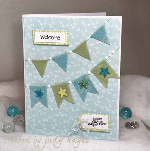 Pennant and Stars Welcome Sweet Little One Card by Judy Hayes for Scrapbook Adhesives by 3L