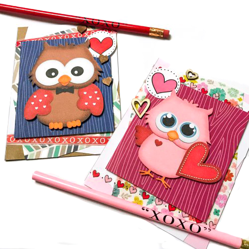 Valentines Owl Card Duo with Adhesive Sheets by Latrice Murphy for Scrapbook Adhesives