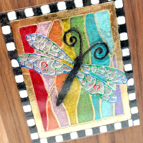 Stained Glass 3D Foam and Foil Accented Dragonfly Mini Album Embellishment by Dana Tatar