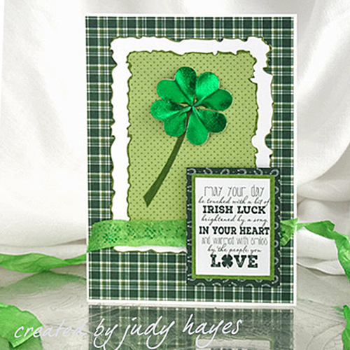 Foiled Shamrock Card with 3D Foam Hearts by Judy Hayes for Scrapbook Adhesives by 3L