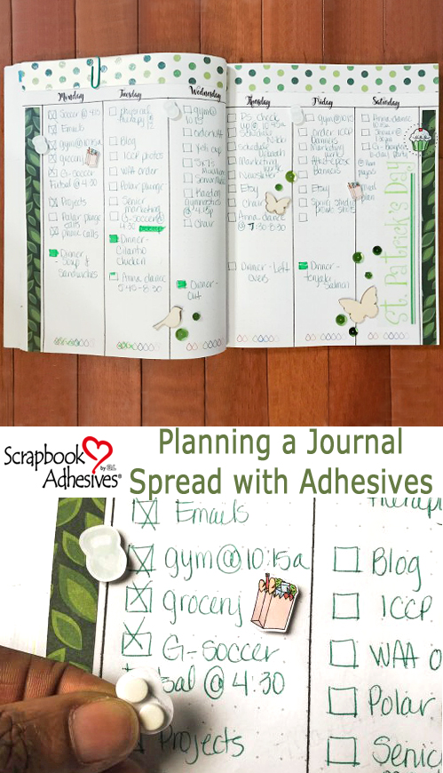 Monochromatic Weekly Bullet Journal Spread by Latrice Murphy for Scrapbook Adhesives by 3L Pinterest