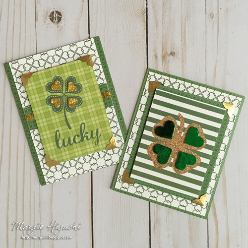 Foil and Glitter Lucky Shamrock Card Duo by Margie Higuchi for Scrapbook Adhesives by 3L