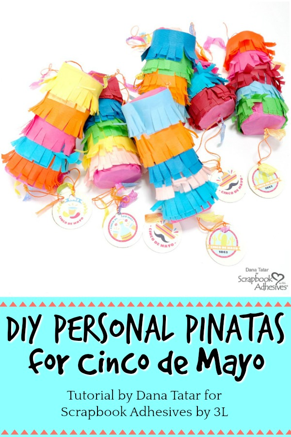 DIY Paper Roll Personal Pinatas Covered with Colorful Fringed Tissue Paper and Filled With Candy Held Together with Crafty Power Tape by Dana Tatar