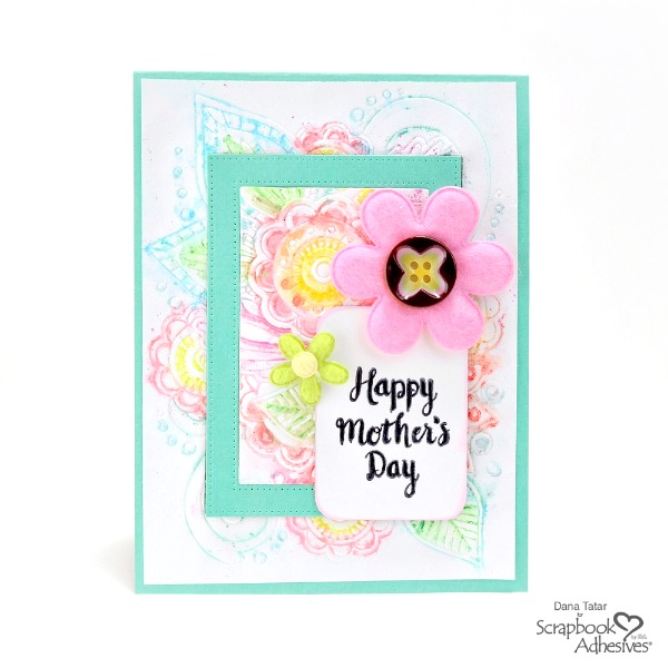 Bright Floral Embossed Watercolor Mother's Day Card with Felt Flowers and Stamped Sentiment