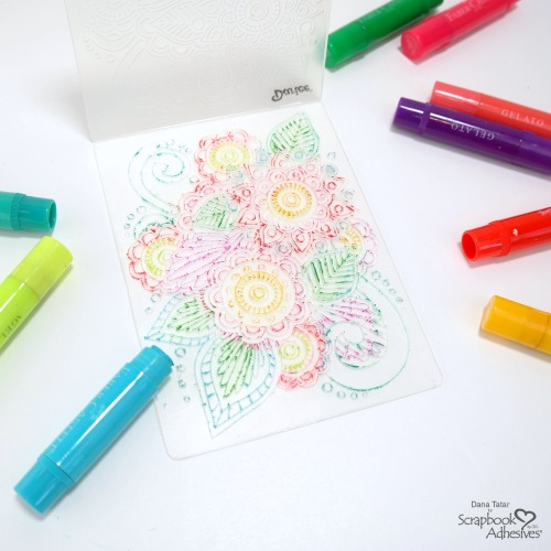 How to Apply Colorful Gelatos to a Floral Print Embossing Folder to Create an Embossed Watercolor Card