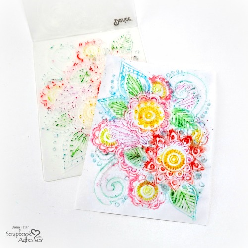 Embossed Watercolor Floral Background Print Created with an Embossing Folder Gelatos and Water