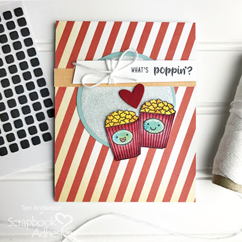 Stamped Popcorn Card Tutorial by Teri Anderson for Scrapbook Adhesives by 3L
