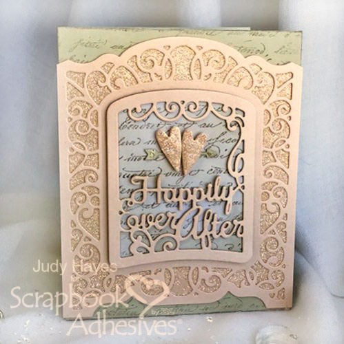 Glittery Wedding Card with Adhesive Sheets by Judy Hayes for Scrapbook Adhesives by 3L