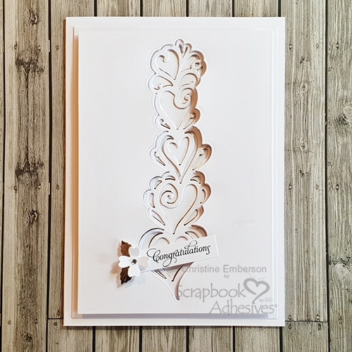 Delicate White Elegant Card with Adhesive Sheets by Christine Emberson for Scrapbook Adhesives by 3L