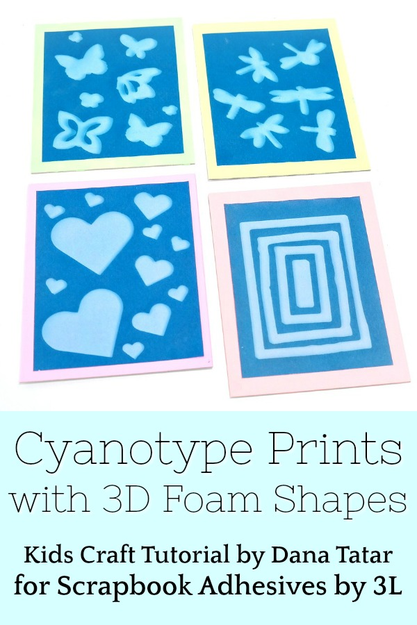 Cyanotype Prints Created with 3D Foam Shapes