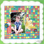 Kid Scrapbook Layout with DIY Click N Stick Mosaic Squares Background