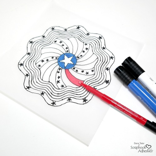 Patriotic Black Glue Mandala Colored with Red White and Blue Markers