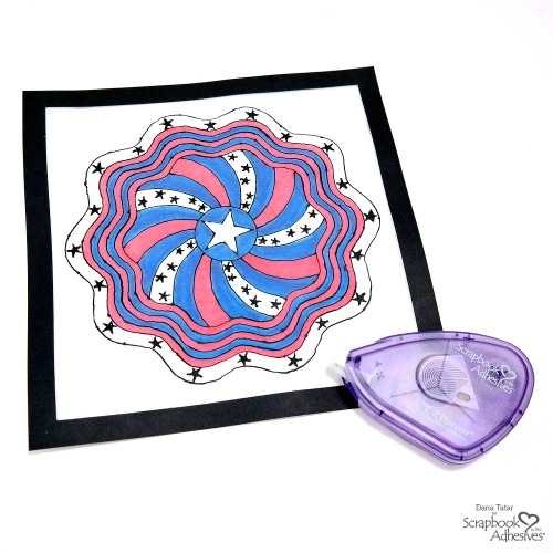 Red White and Blue Black Glue Patriotic Mandala on Vellum