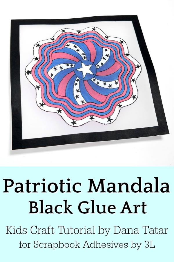 Patriotic Mandala Black Glue Art on Vellum