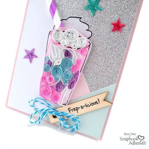 Quilled Unicorn Frappuccino Card with Glittered 3D Foam Hearts