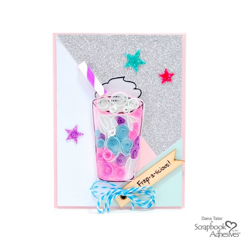 Quilled Unicorn Frappuccino Card with Glittered 3D Foam Hearts by Dana Tatar for Scrapbook Adhesives by 3L