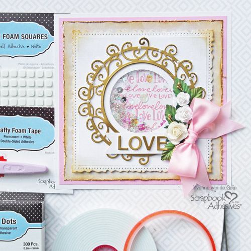 Romantic Love Shaker Card Tutorial by Yvonne van de Grijp for Scrapbook Adhesives by 3L