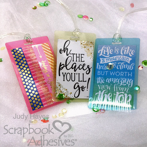 Fun Luggage Tags with Self-Laminating Tags by Judy Hayes for Scrapbook Adhesives by 3L