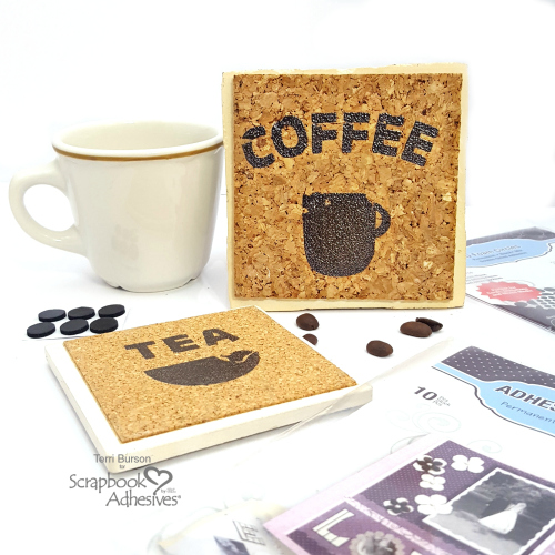 Upcycled Heat Embossed Coasters by Terri Burson for Scrapbook Adhesives by 3L